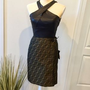 NWT Vintage FENDI Zucca Pattern Wrap Skirt